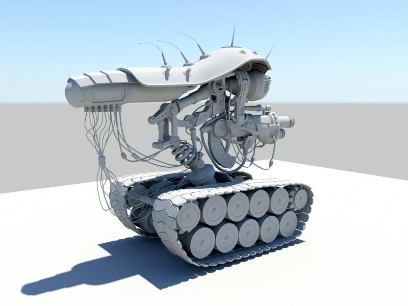 Sci Fi Robot Tank 3d rendering