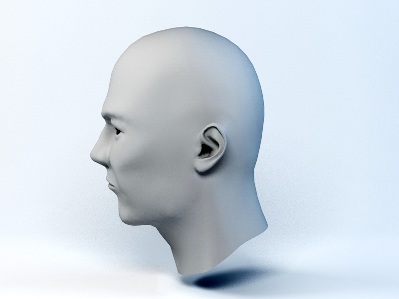 Male Head Base Mesh 3d rendering