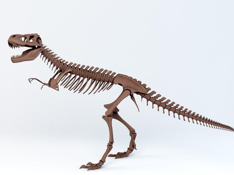 T-Rex Skeleton 3d rendering