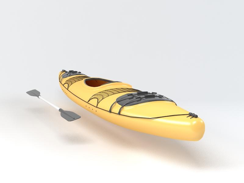 Yellow Kayak 3d rendering