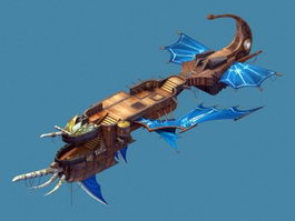 Fantasy Flying Ship 3d model preview