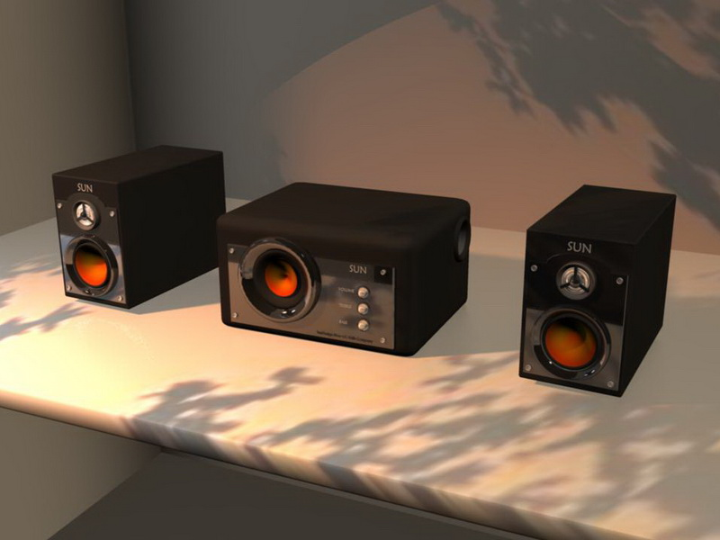 Computer Speakers with Subwoofer 3d rendering