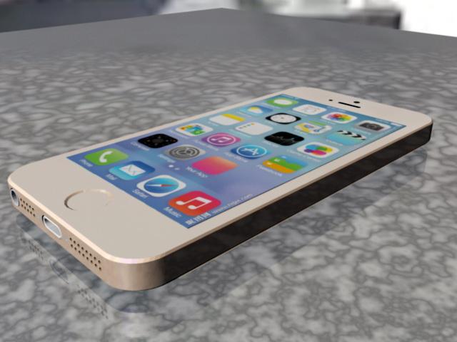 iPhone 5S Gold 3d rendering