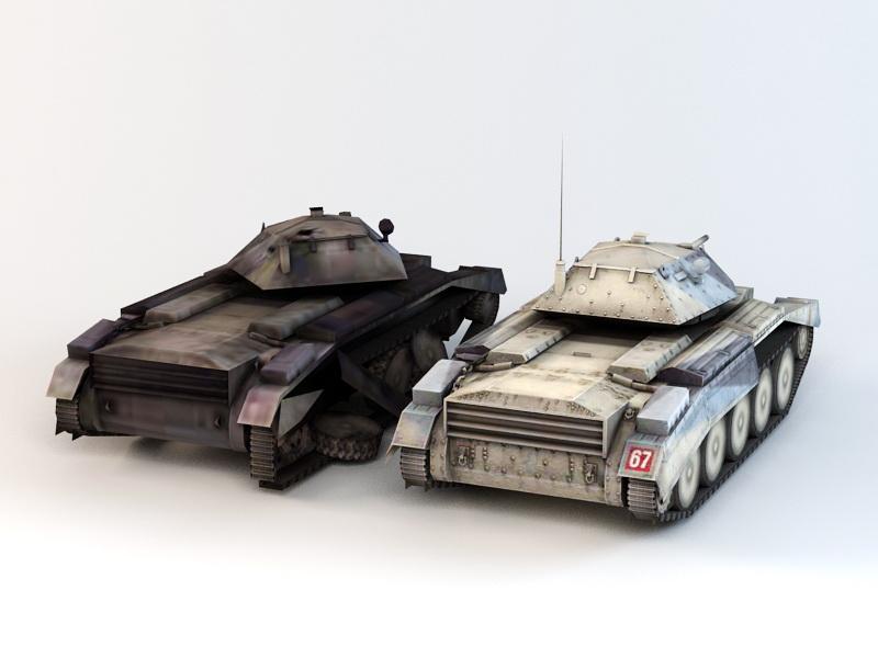 British A15 Crusader Tank 3d rendering