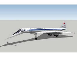 Tupolev Tu-144 Jet Airliner 3d model preview