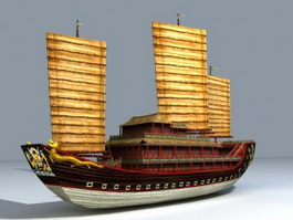 Medieval Chinese Ship 3d preview