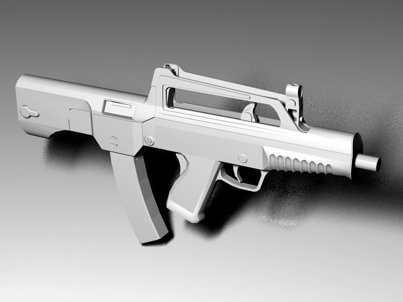 Type 05 Suppressed Submachine Gun 3d rendering