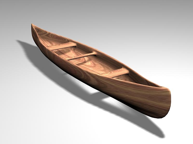 Old Wooden Canoe 3d rendering