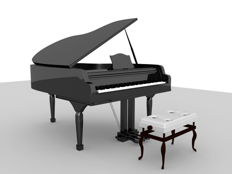 Piano and Bench 3d rendering
