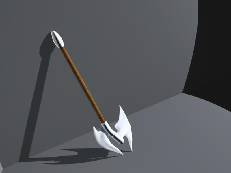 Dual Bladed Battle Axe 3d rendering