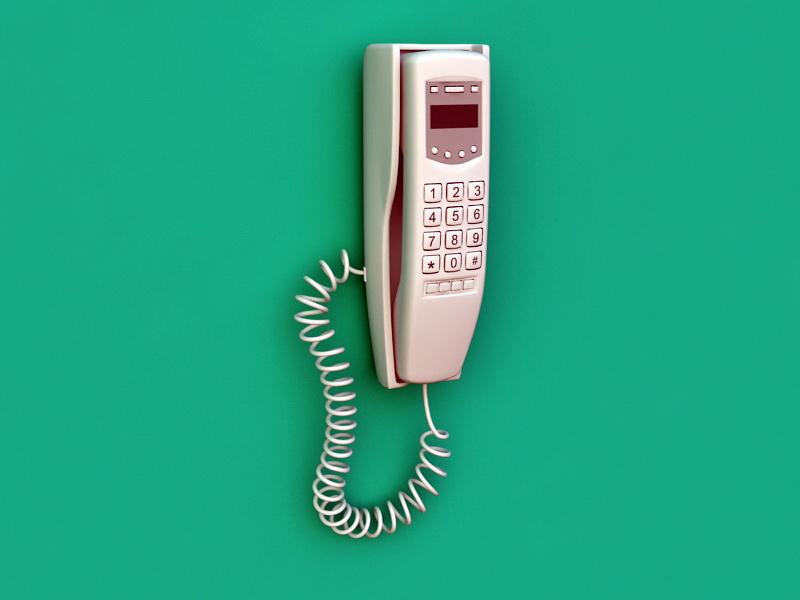 Wall Telephone 3d rendering