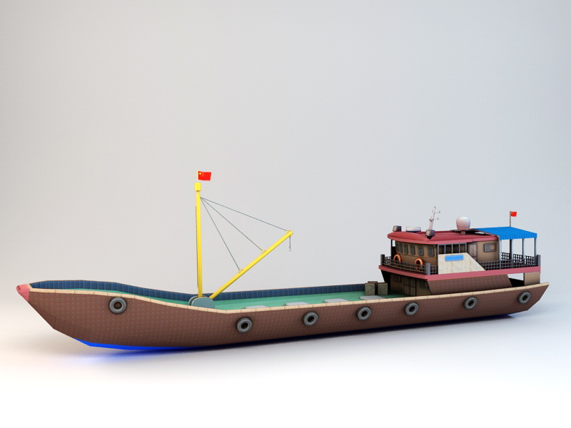 Commercial Fishing Ship 3d rendering