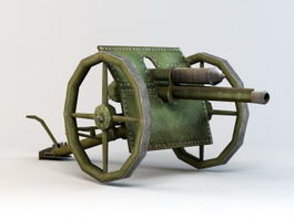Low Poly Cannon 3d model preview