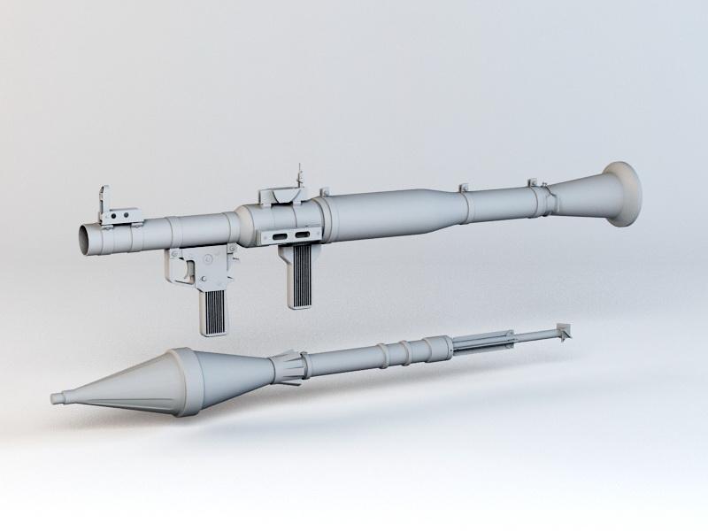 RPG-7 Rocket Launcher 3d rendering