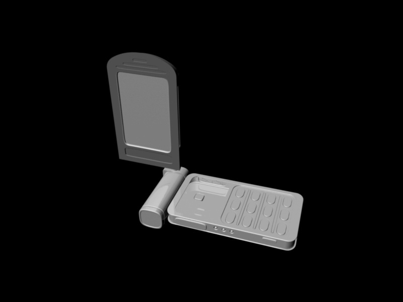 Rotating Flip Phone 3d rendering