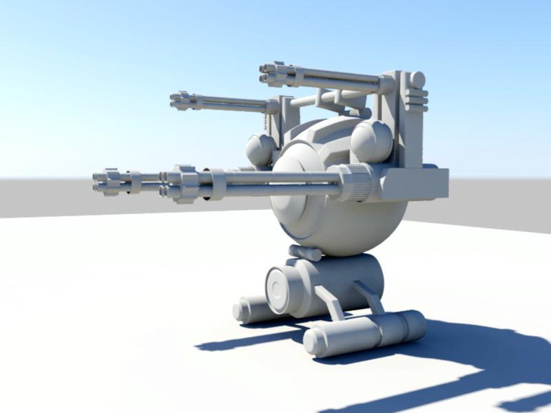 Futuristic Gun Turret 3d rendering
