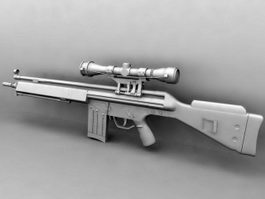G3 Assault Rifle with Scope 3d model preview