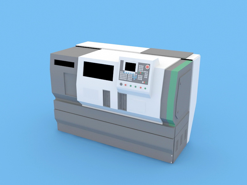 CNC Machine Tool 3d rendering