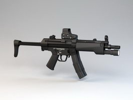 MP5 with SureFire 3d model preview