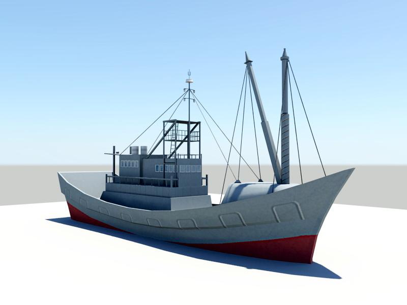 Fishing Ship 3d rendering