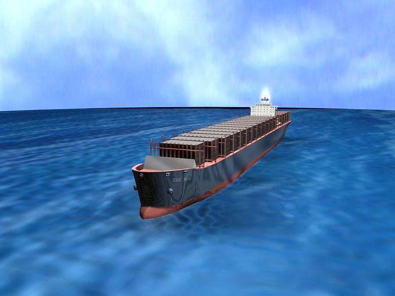 Ocean Freight Container 3d rendering