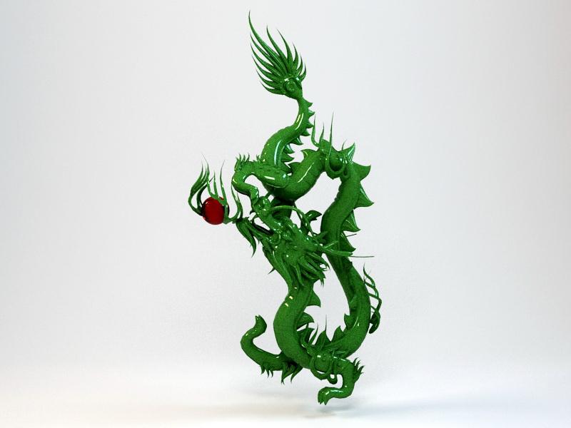 Jade Dragon Carving 3d rendering