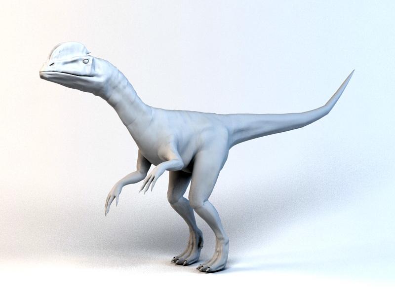 Dilophosaurus Dinosaur 3d rendering