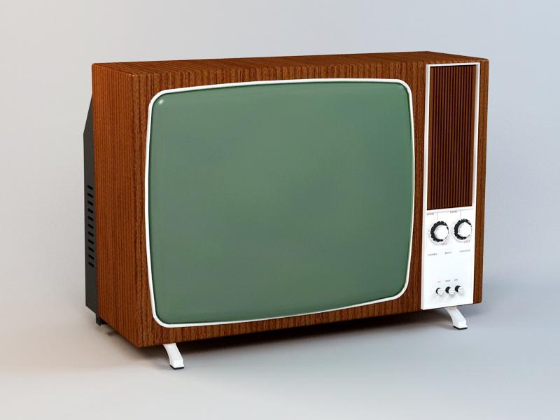 Old Color TV 3d rendering