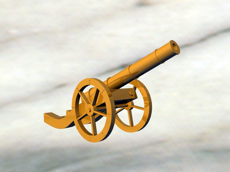 Vintage Gold Cannon 3d rendering