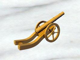 Vintage Gold Cannon 3d model preview