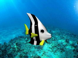 Black and White Butterflyfish 3d preview