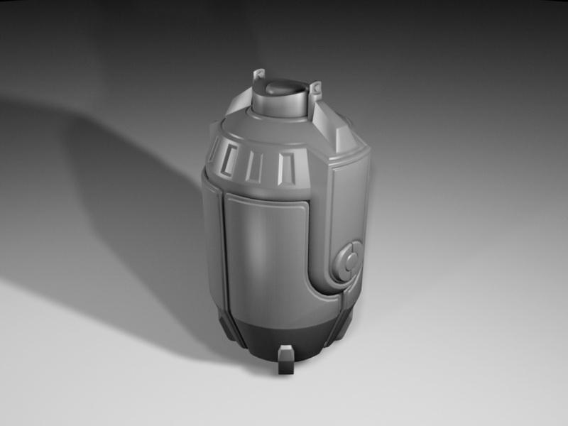 Futuristic Grenade 3d rendering