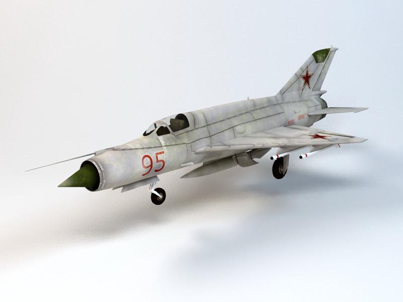 MiG-21 Jet Fighter 3d rendering