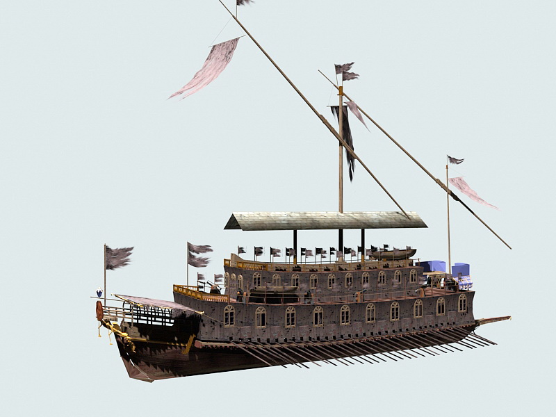 Ancient Pirate Ship 3d rendering