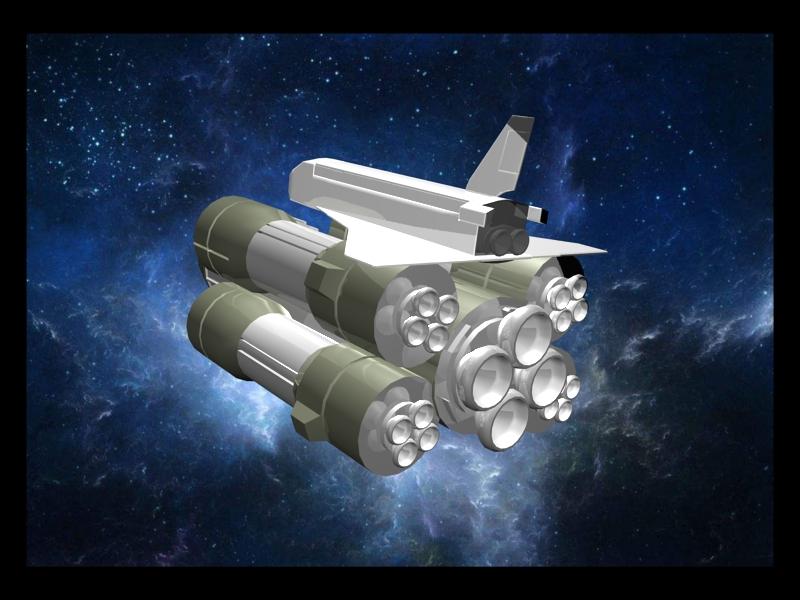 Space Shuttle Rockets Set 3d rendering