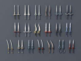 Low Poly Swords Collection 3d model preview