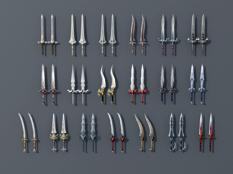 Low Poly Swords Collection 3d rendering