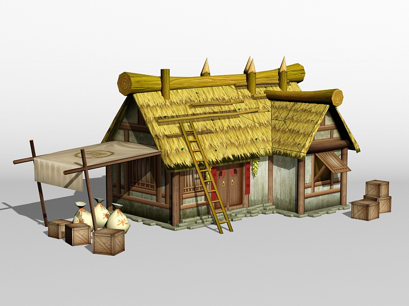 Ancient Chinese Thatched Farmhouse 3d rendering