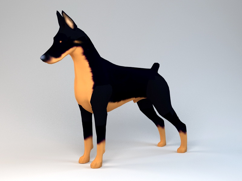 Dobermann Dog 3d rendering
