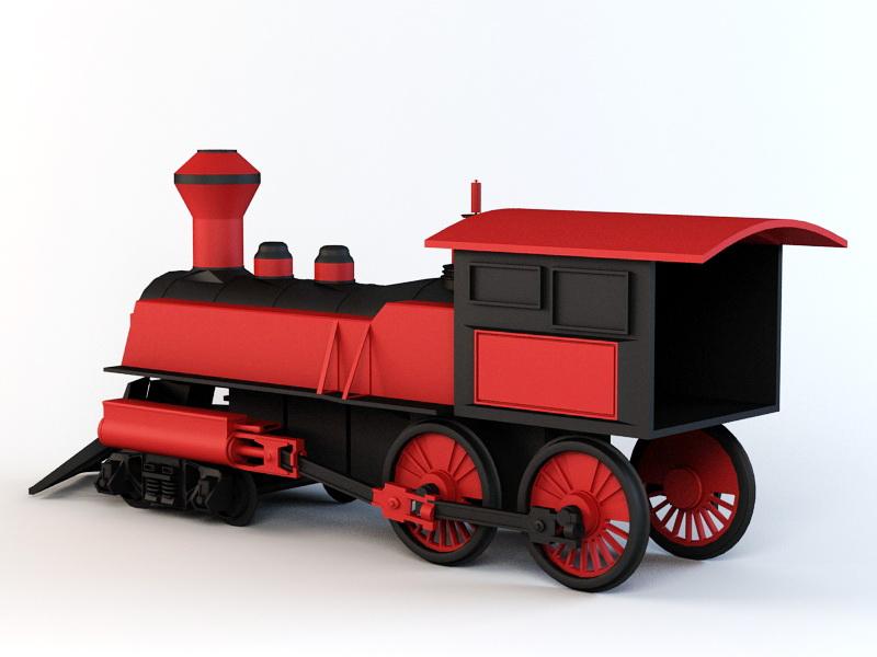 Cartoon Steam Train 3d rendering
