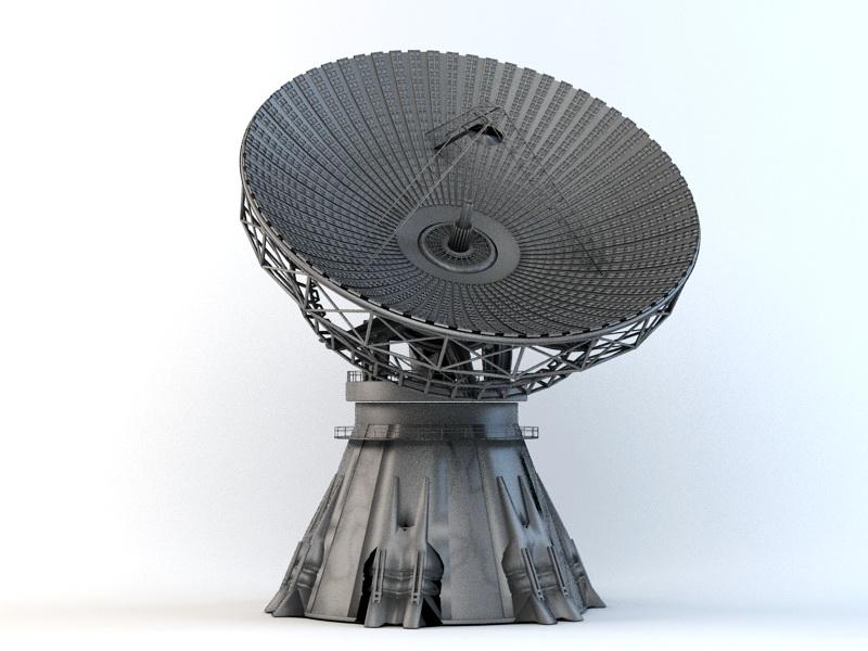 Satellite Dish Antenna Radar 3d rendering