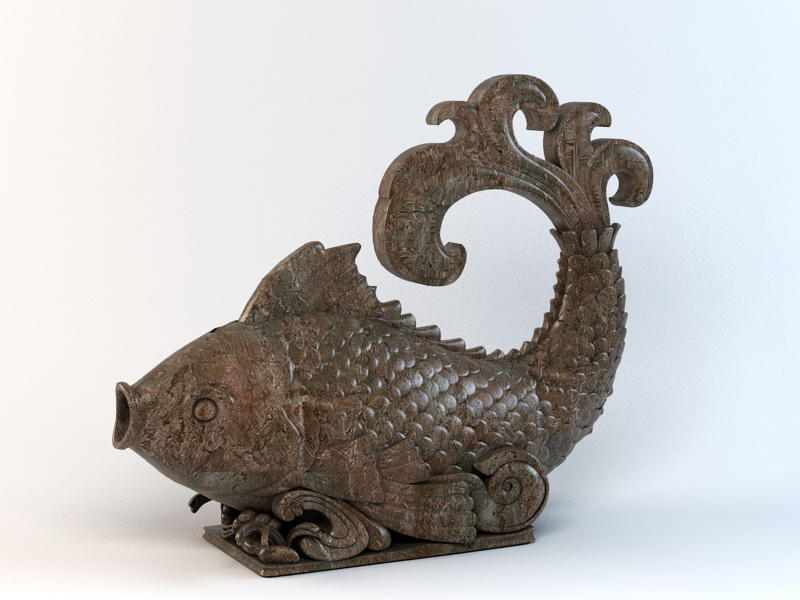Carved Wooden Fish 3d rendering