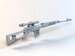 Dragunov Sniper Rifle 3d model preview