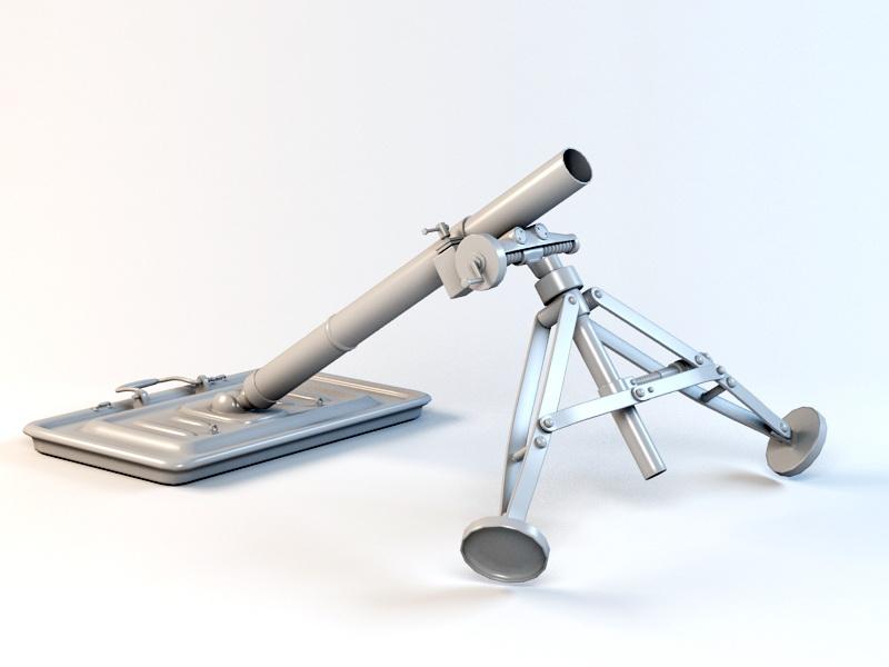 82MM Mortar 3d rendering