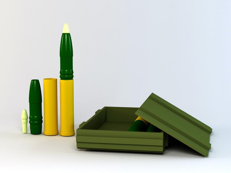 75Mm Ammo Box 3d rendering