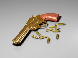 Revolver with Bullets 3d model preview