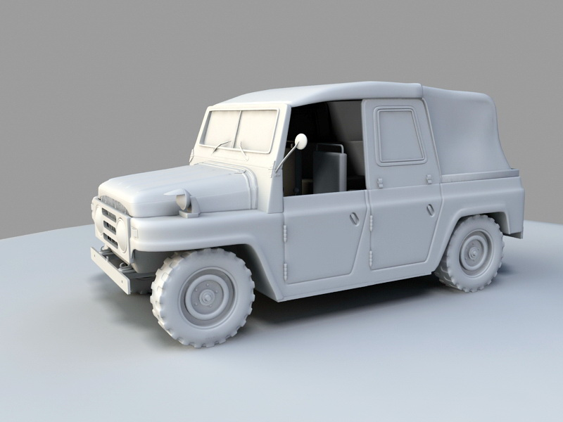 Willys Military Jeep 3d rendering