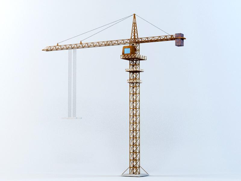 Construction Tower Crane 3d rendering