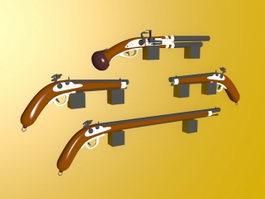 Old Flintlock Pistol 3d preview