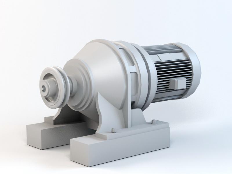 Electric Motor Reducer 3d rendering